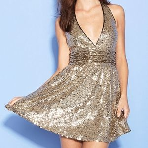 Forever 21 Gold Sequin Halter Top Dress Size Small